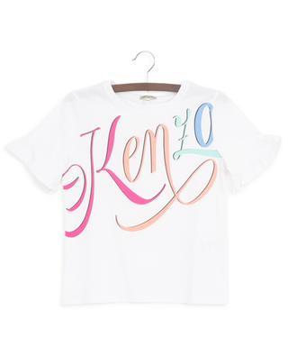 T-Shirt mit Rüschen und buntem Print Kenzo Logo KENZO