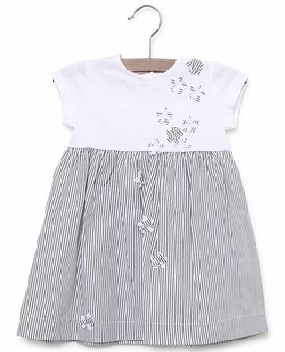 Gestreiftes Jersey- und Popeline-Kleid mit Blüten IL GUFO
