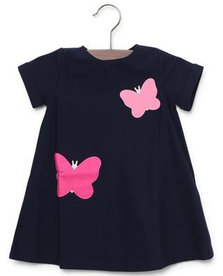 Kurzarm-Kleid aus Jersey mit Schmetterling-Stickereien IL GUFO