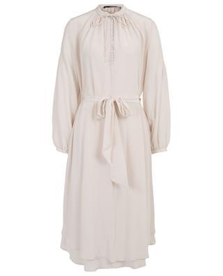 A-förmiges Kleid aus Seide mit Puffärmeln SLY 010
