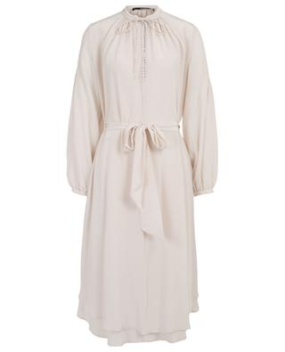 A-lined silk dress with puff sleeves SLY 010