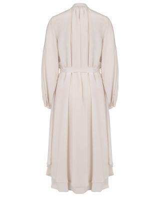 Robe trapèze en soie à manches bouffantes SLY 010