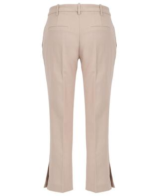 Cropped straight-fit cotton and linen trousers with slits SLY 010