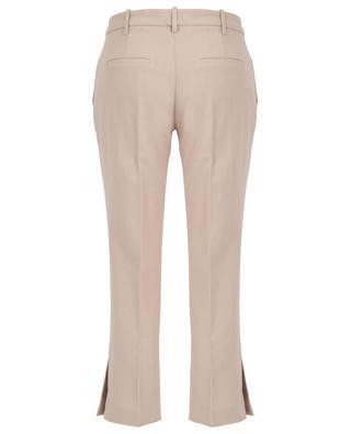 Pantalon droit raccourci en coton et lin avec fentes SLY 010