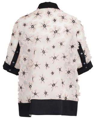 Sheer flower embellished polo shirt spirit top SLY 010