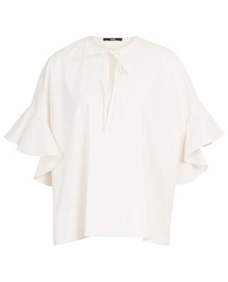 Poplin blouse with short ruffle sleeves SLY 010