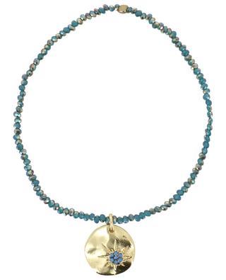 Bracelet in small iridescent stones with sun pendant MOON C° PARIS