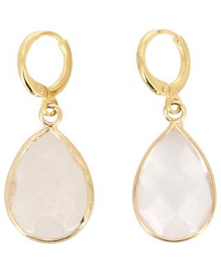 Hoop earrings adorned with sheer drop shaped stones MOON C° PARIS