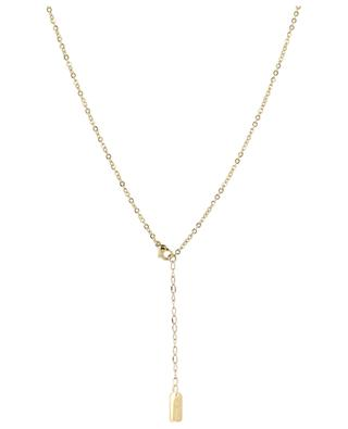 Golden necklace with pearls and square MOON C° PARIS
