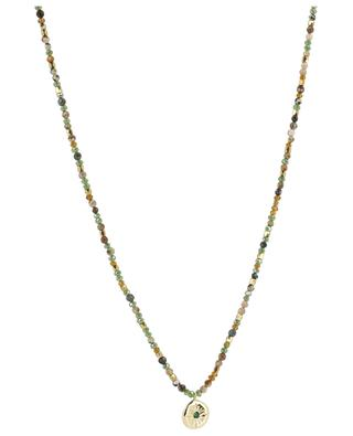 Golden necklace with green stones and golden medal MOON C° PARIS