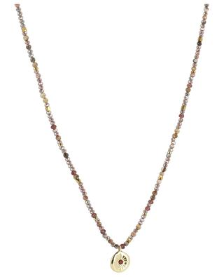 Golden necklace with pink stones and golden medal MOON C° PARIS