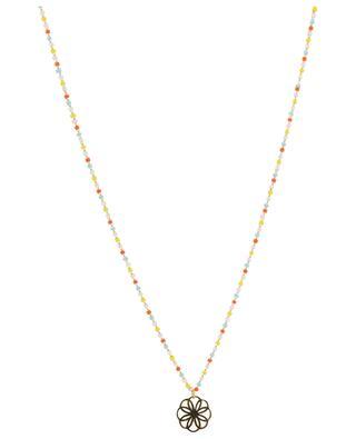 Multicolour glass bead necklace with mandala MOON C° PARIS