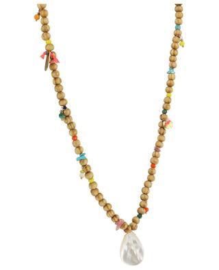 Halskette aus Holz mit Perlmutt, Steinen und Kristallen MOON C° PARIS