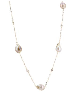 Golden necklace adorned with large pearls and crystals MOON C° PARIS