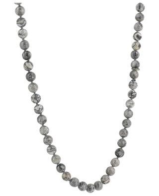 Lange Halskette aus zweifarbigen Steinen mit Gingko-Anhänger MOON C° PARIS