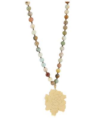 Long multicolour stone necklace with peony pendant MOON C° PARIS