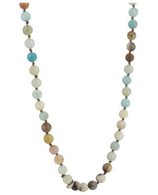 Lange Halskette aus bunten Steinen mit Pfingstrose MOON C° PARIS