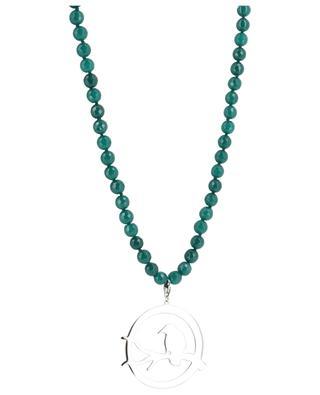 Lange Halskette aus grünen Steinen mit Vogel MOON C° PARIS