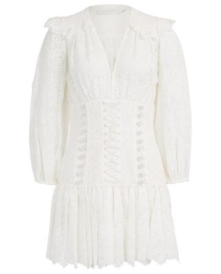 Honour Corset Lace openwork embroidery mini dress ZIMMERMANN