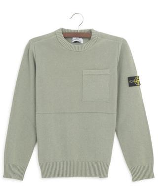Textured cotton jumper with crew neck and chest pocket STONE ISLAND