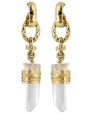 Boucles d'oreilles dorées avec cristal de roche Cristal PM GAS BIJOUX