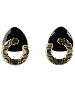 Anémone onyx and gold clip-on earrings GAS BIJOUX