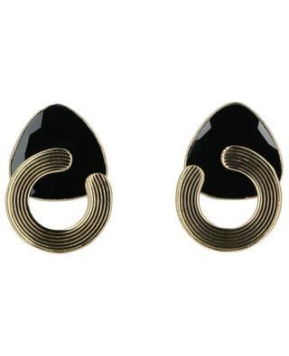 Boucles d'oreilles clips onyx et or Anémone GAS BIJOUX