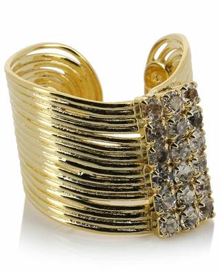 Offener goldener breiter Ring Wave Strass GAS BIJOUX