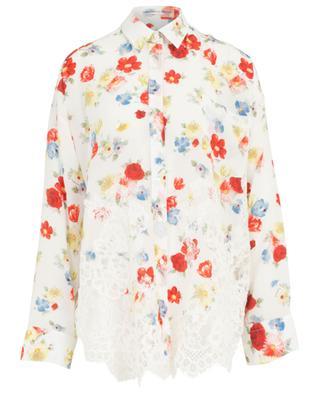 Floral silk oversize shirt embellished with lace ERMANNO SCERVINO