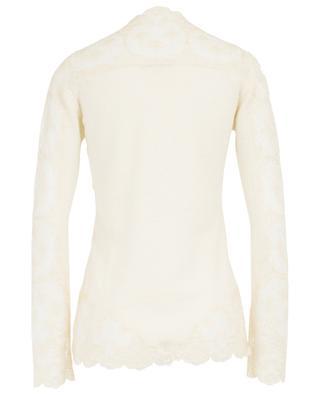 Pullover aus Wolle, Kaschmir, Seide und Spitze mit V-Ausschnitt ERMANNO SCERVINO