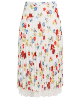 Pleated skirt in floral silk with lace hem ERMANNO SCERVINO