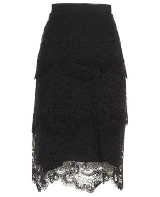 Lace adorned silk and cotton pencil skirt ERMANNO SCERVINO