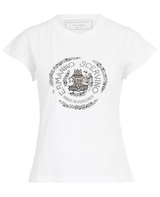 Rhinestone adorned round neck jersey T-shirt ERMANNO SCERVINO
