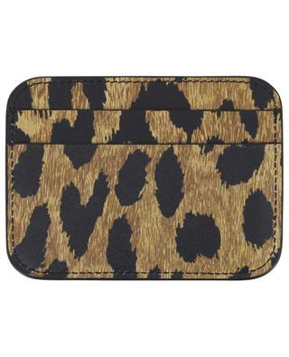 Cash leopard print leather cardholder BALENCIAGA