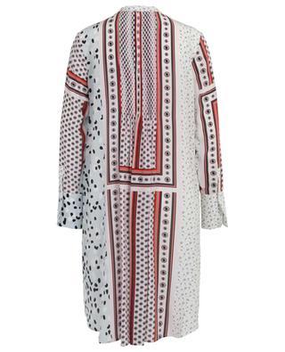 Gerades Kleid aus Seide mit Print und Falten SLY 010