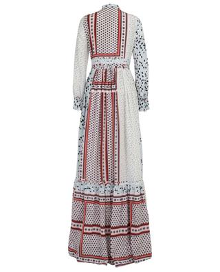 Langes Kleid aus Seide mit Print und Falten SLY 010
