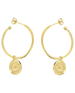 Joseph golden hoop earrings with eye pendants MONSIEUR PARIS