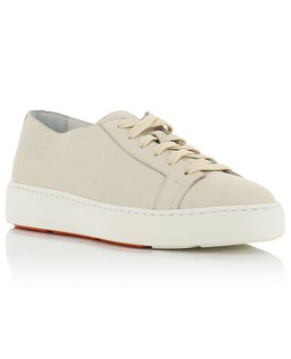 Grained leather lace-up low-top sneakers SANTONI