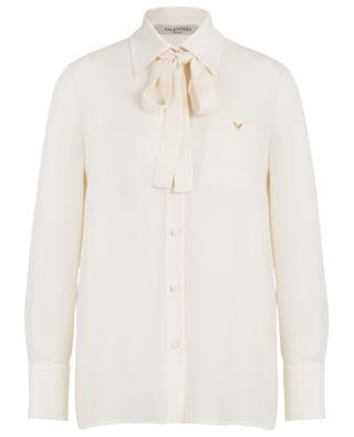 V logo adorned silk shirt with necktie VALENTINO