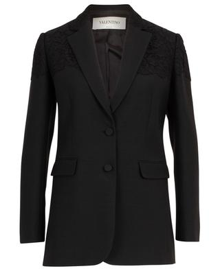 Virgin wool and silk blend blazer adorned with lace VALENTINO