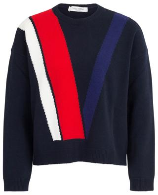 V Intarsia loose wool and cashmere jumper VALENTINO