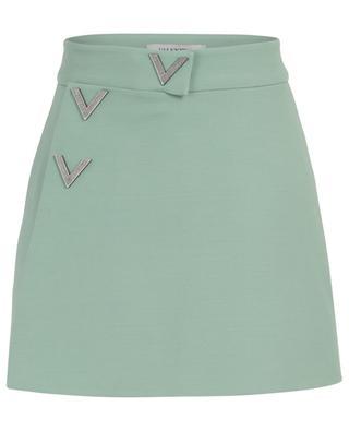 V logo adorned mini virgin wool and silk shorts VALENTINO