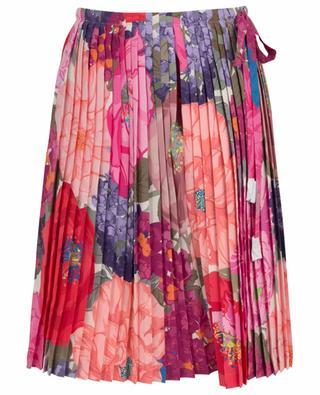 Kurzer plissierter Hosenrock aus Seide mit Print Mix Flowers VALENTINO
