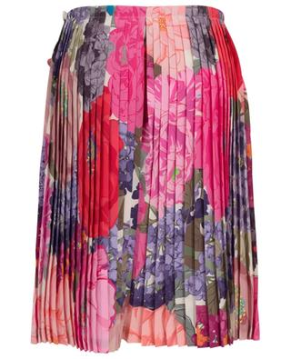 Mix Flowers short pleated silk split shirt with print VALENTINO