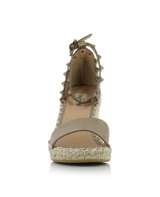 Rockstud Double grained golden leather wedge espadrilles VALENTINO