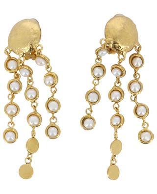 Goldene Ohrclips mit Perlen Rain Drops SYLVIA TOLEDANO
