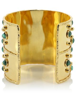 Byzance high golden cuff with malachite SYLVIA TOLEDANO