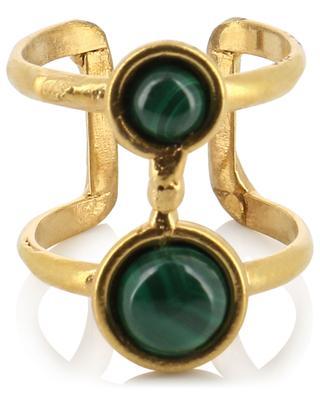 Offener goldener Ring mit Malachit Résille SYLVIA TOLEDANO