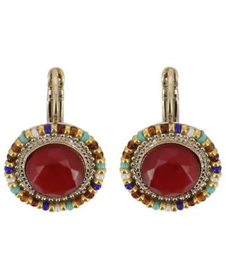 Claudia earrings adorned with red cabochons SATELLITE