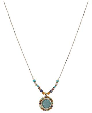 Claudia golden necklace with malachite SATELLITE